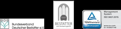 Bestattungsinstitut Hambug Verbände und Zertifizierung: Betatter - vom Handwerk geprüft / TÜVRheinland LGA InterCert nach DIN EN ISO 9001:2008 / Bundesverband Deutscher Bestatter e.V.